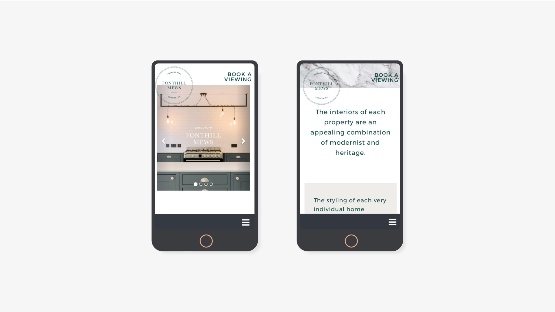 Two website pages presented on phones, for Fonthill Mews, Finsbury Park properties. Graphic design by Barefaced Studios, design agency based in Islington, North London.