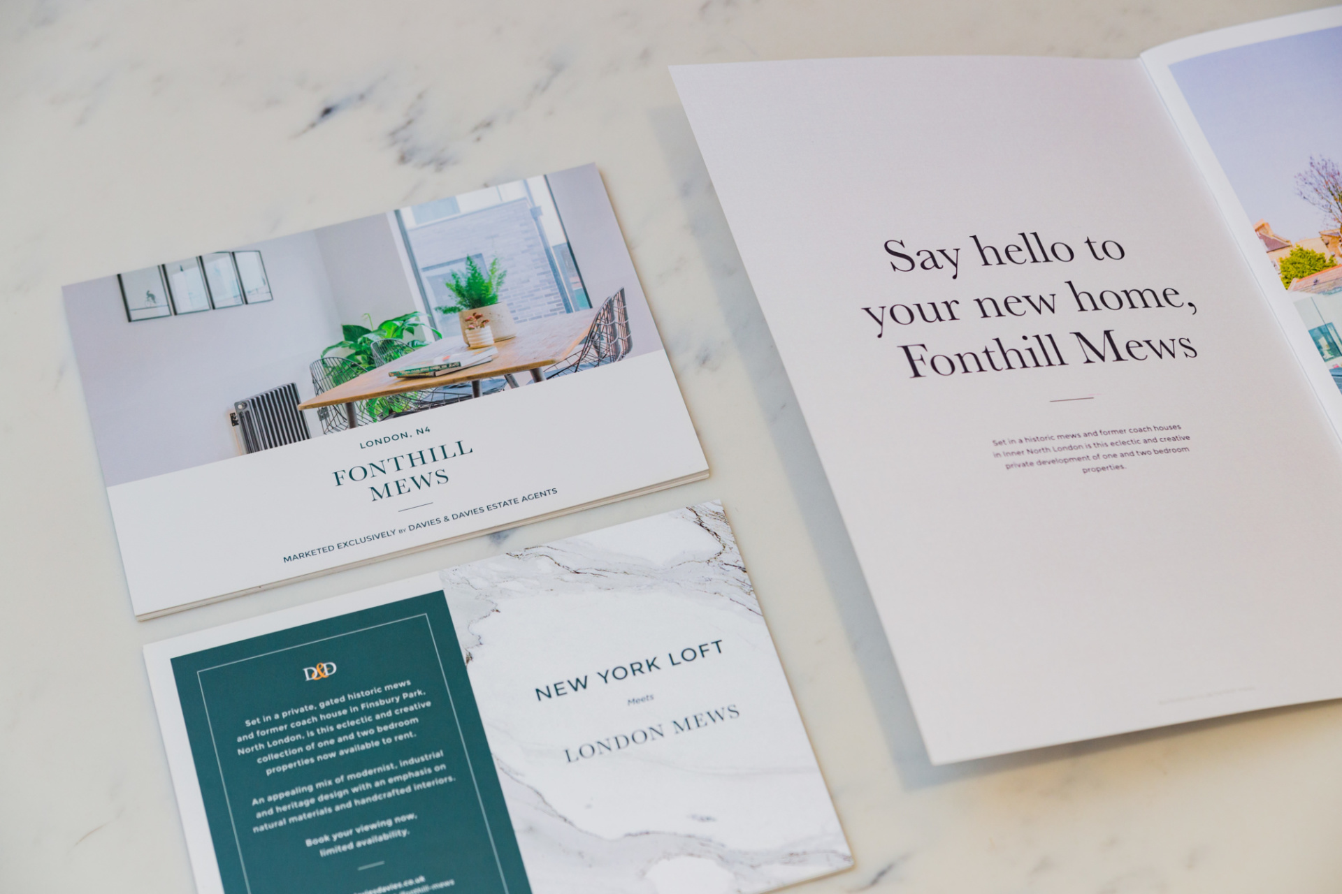 Flyer and brochure for Fonthill Mews, Finsbury Park properties. Graphic design by Barefaced Studios, design agency based in Islington, North London.