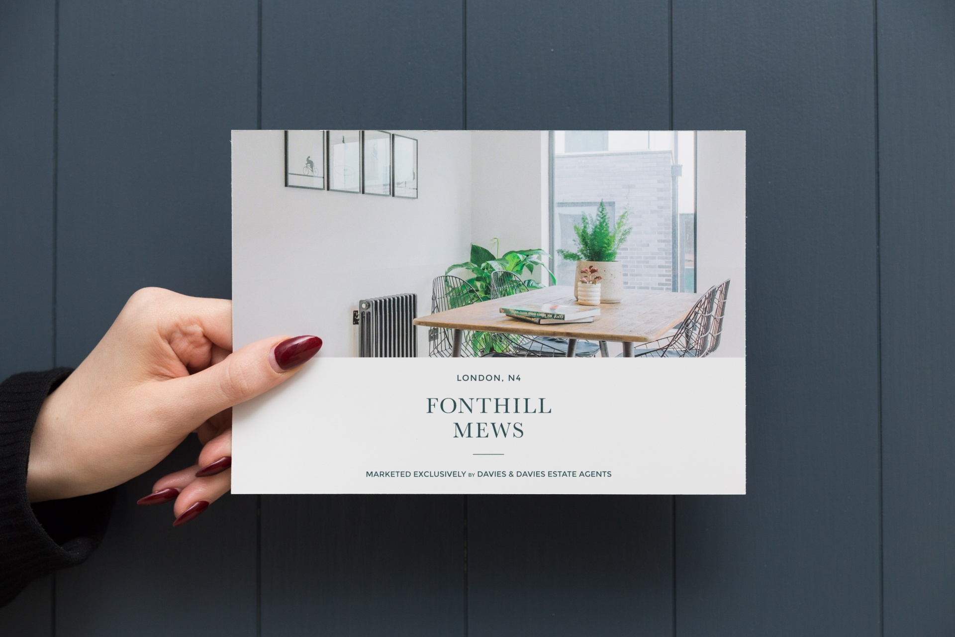 Flyer for Fonthill Mews, Finsbury Park properties. Graphic design by Barefaced Studios, design agency based in Islington, North London.