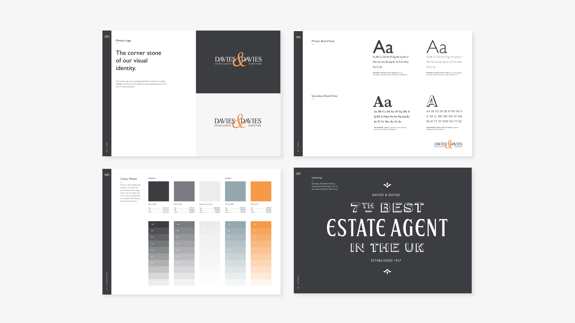 Brand Identity for North London Estate Agents, Davies & Davies. Colours, and type faces, as well as mocked up image of lettering: 7th Best Estate Agent in the UK. Graphic design by Barefaced Studios, design agency based in Islington, North London