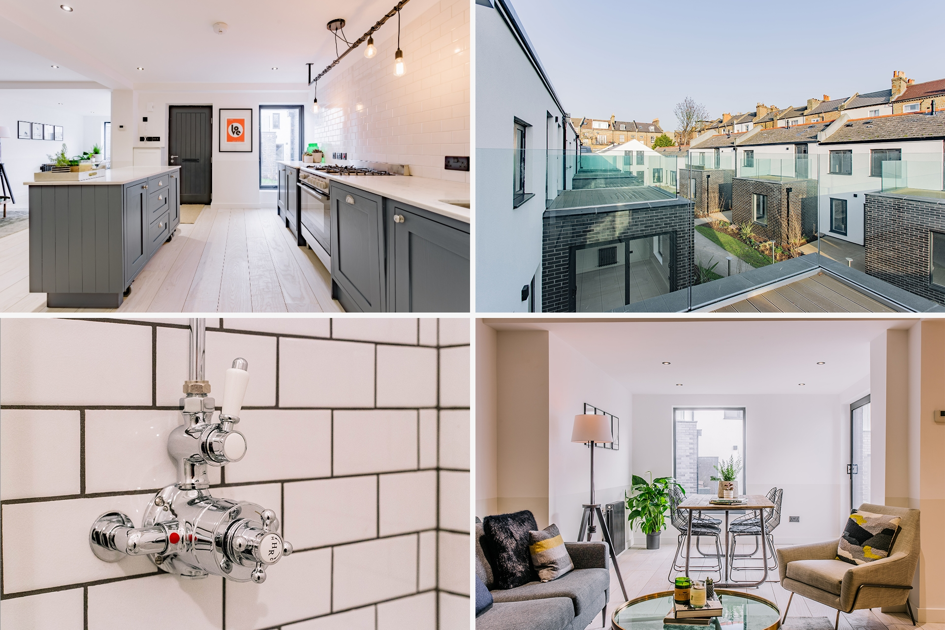 Four images inside Fonthill Mews, Finsbury Park properties. Graphic design by Barefaced Studios, design agency based in Islington, North London.