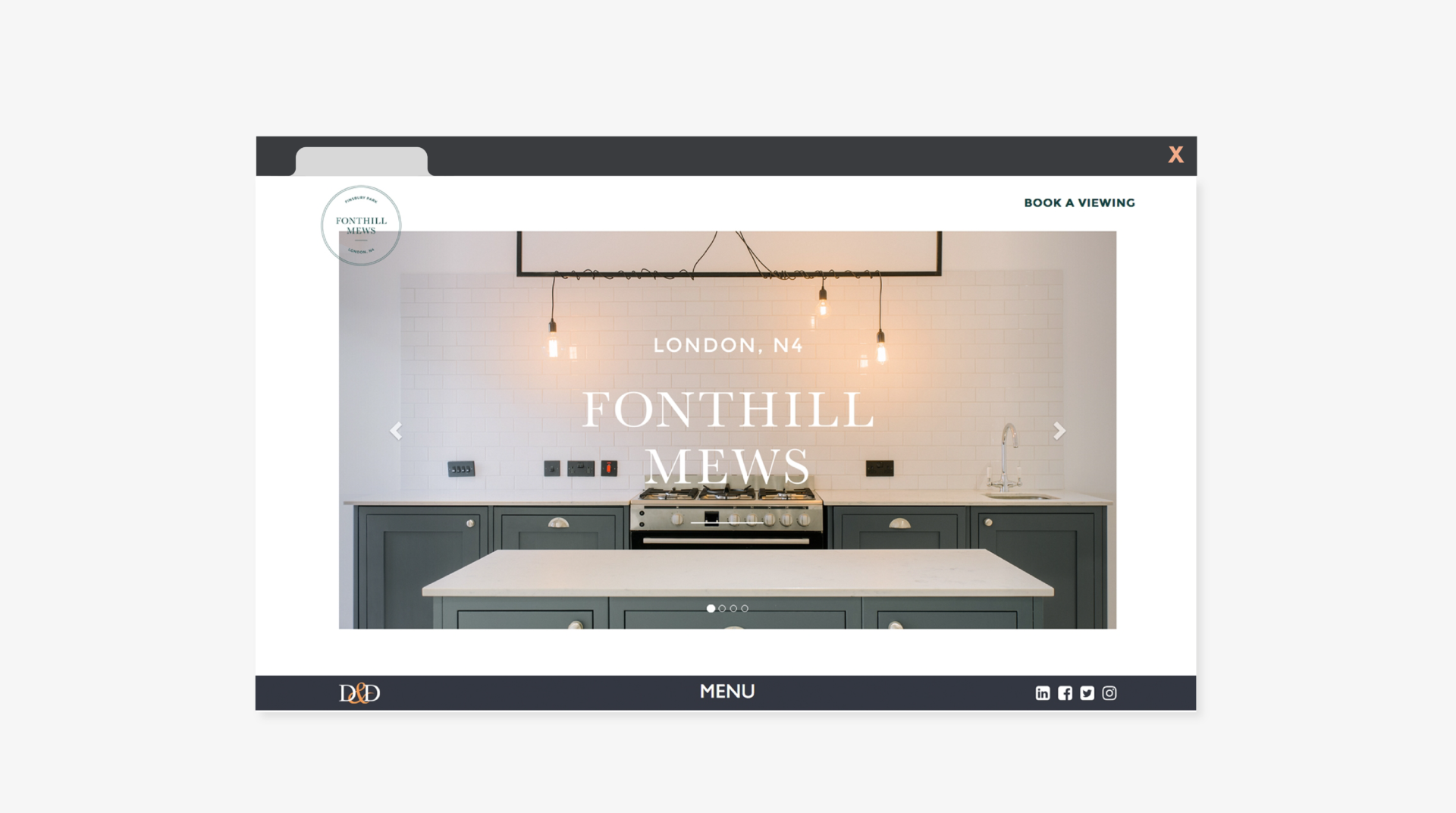 Website page for Fonthill Mews, Finsbury Park properties. Graphic design by Barefaced Studios, design agency based in Islington, North London.