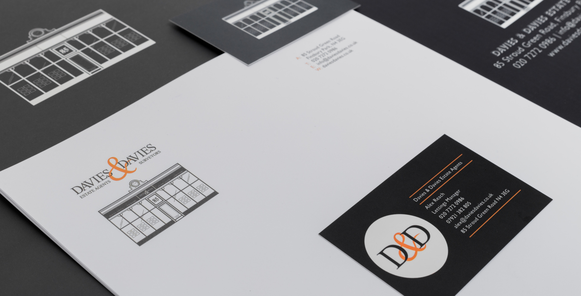 Stationary design and letterheads for North London Estate Agents, Davies & Davies. Graphic design by Barefaced Studios, design agency based in Islington, North London