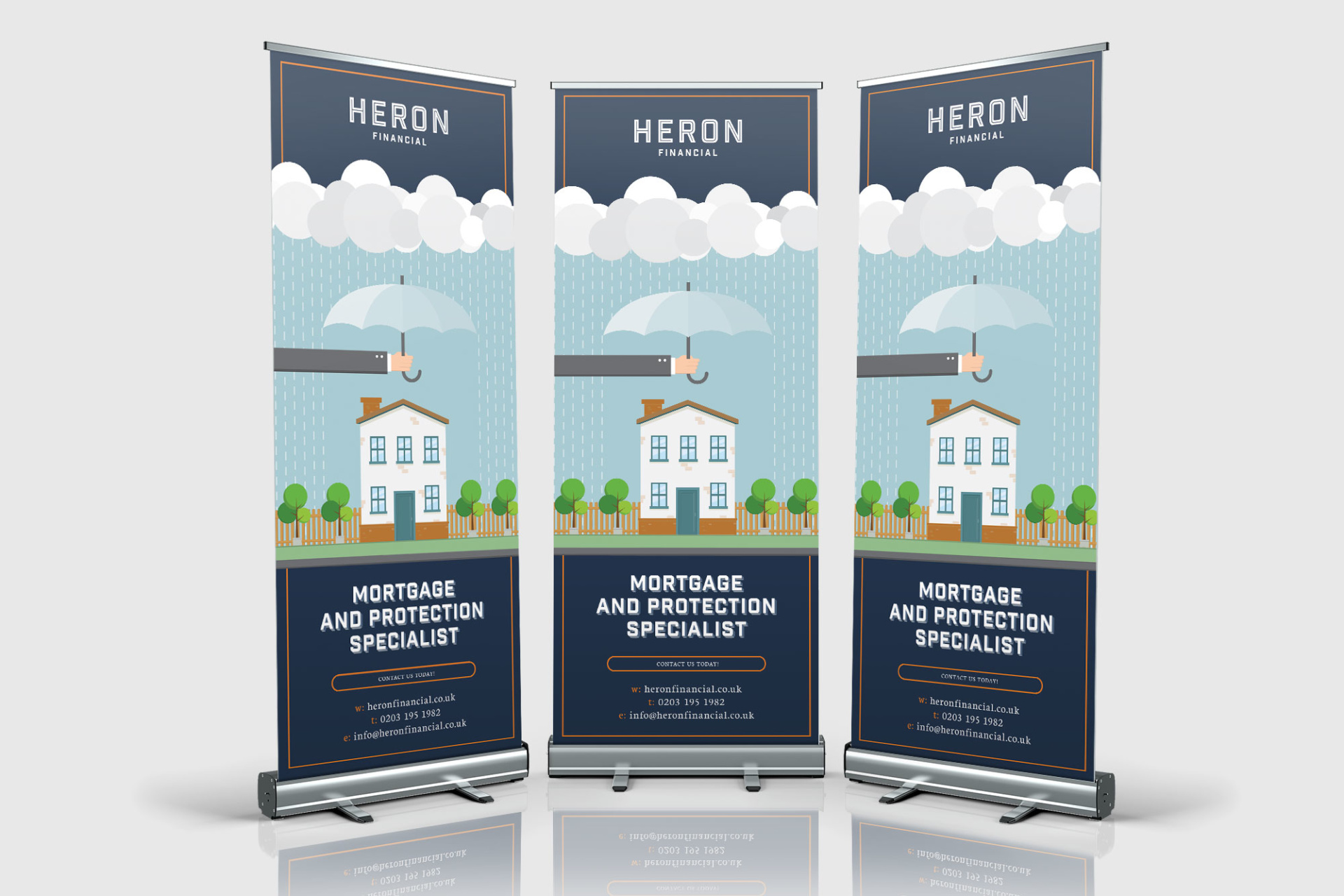 Example of roller banner designed for Heron Financial, Mortgage and Insurance Brokers. Image of home with umbrella shielding it from rain. Graphic design by Barefaced Studios, design agency based in Islington, North London.