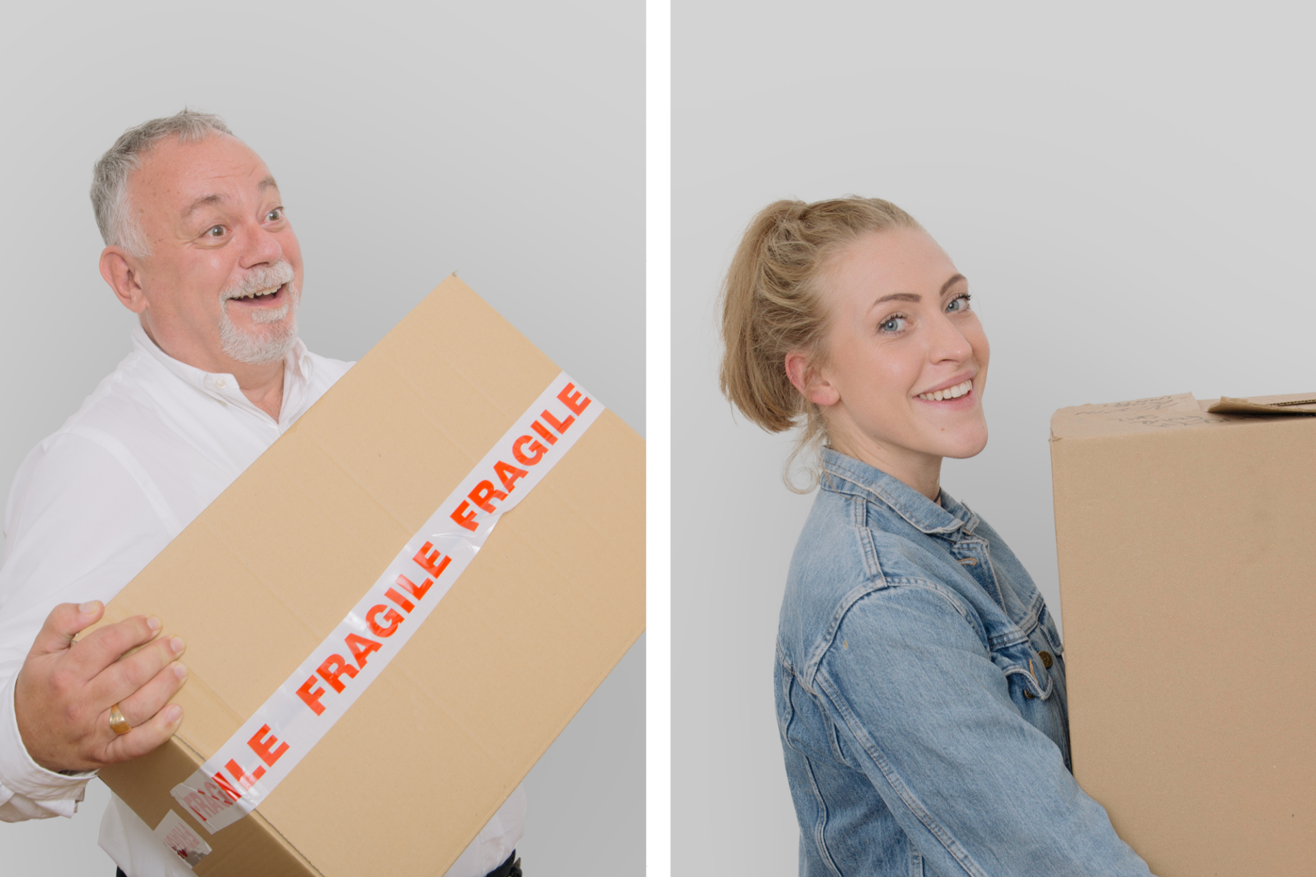 Split image of man and young woman carrying boxes, for moving day. Image for Heron Financial, Mortgage and Insurance Brokers. Graphic design by Barefaced Studios, design agency based in Islington, North London.