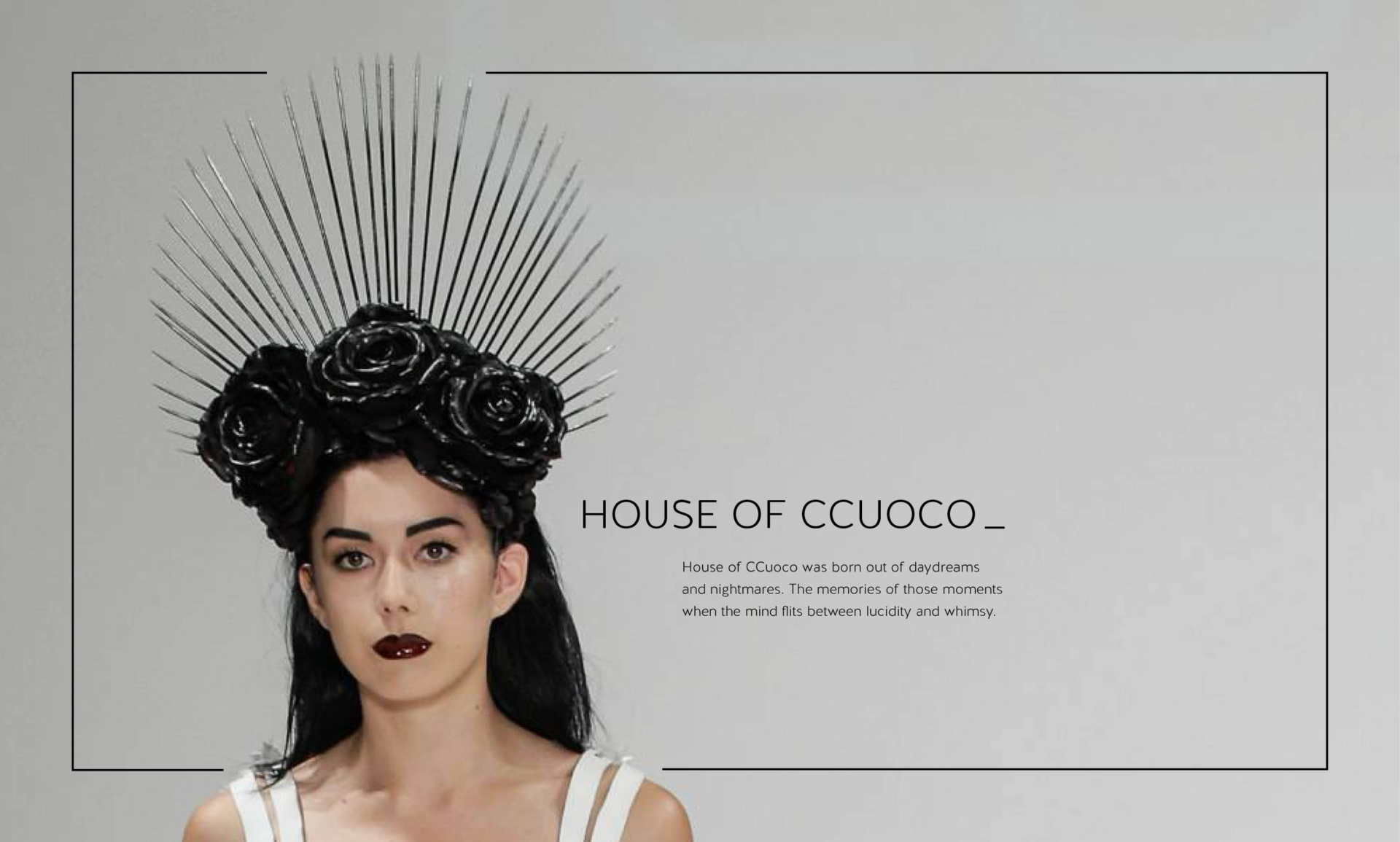 Shot of a woman in black headdress, taken for client, House of CCuoco. Black box around the edge, with logo featured. Graphic design and marketing strategy by Barefaced Studios, design agency based in Islington, North London.