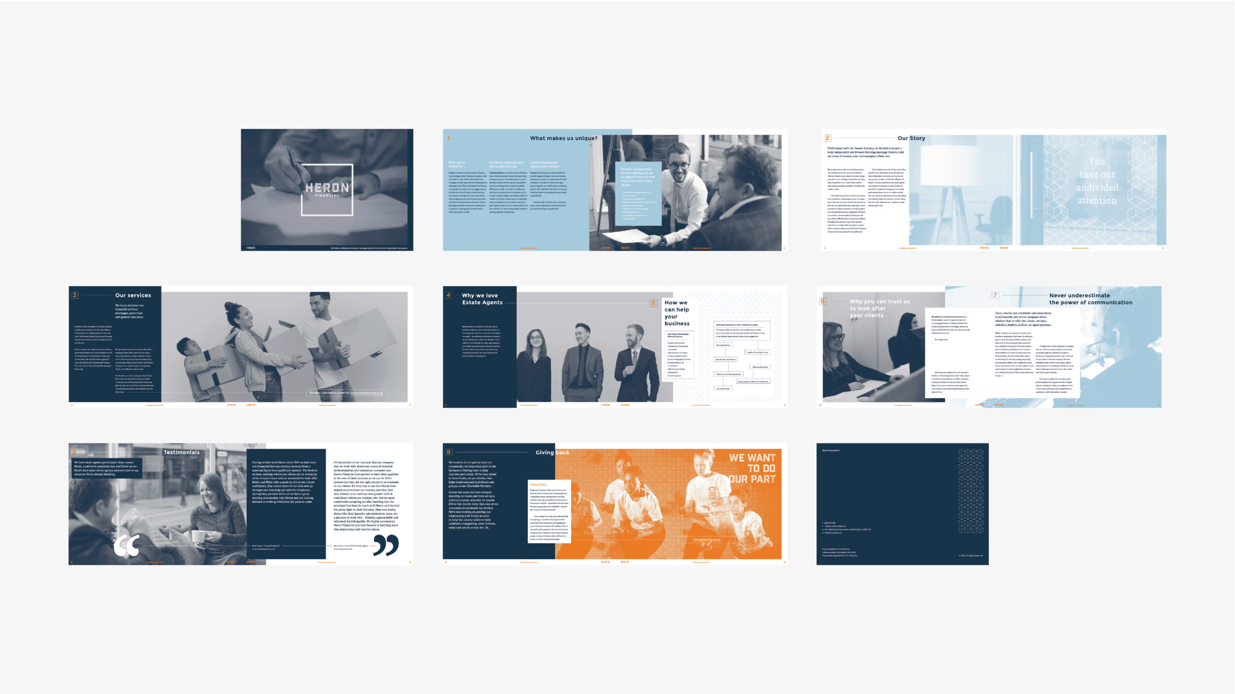 A selection of shots picturing a brochure designed for Heron Financial, Mortgage and Insurance Brokers. Graphic design by Barefaced Studios, design agency based in Islington, North London.