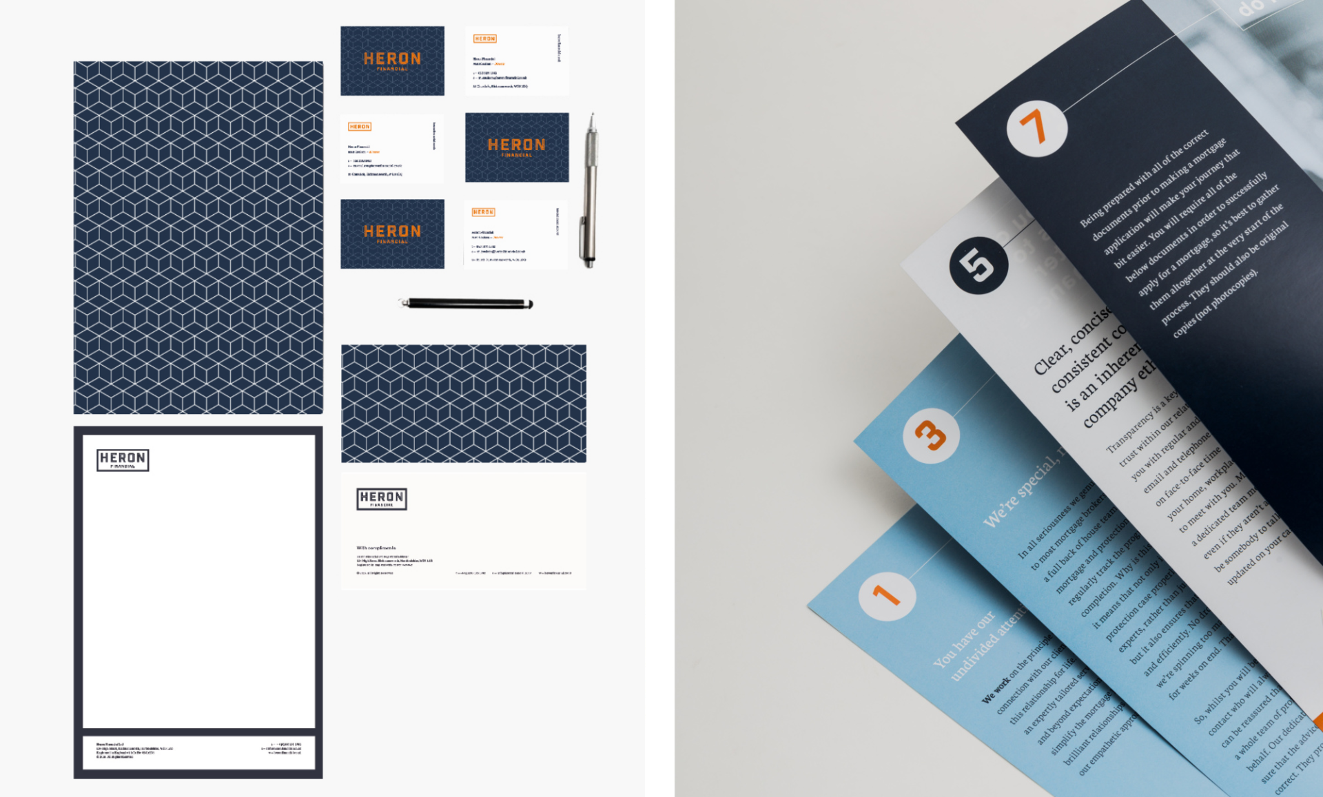 Examples of stationary and brochure design for Heron Financial, Mortgage and Insurance Brokers. Graphic design by Barefaced Studios, design agency based in Islington, North London.