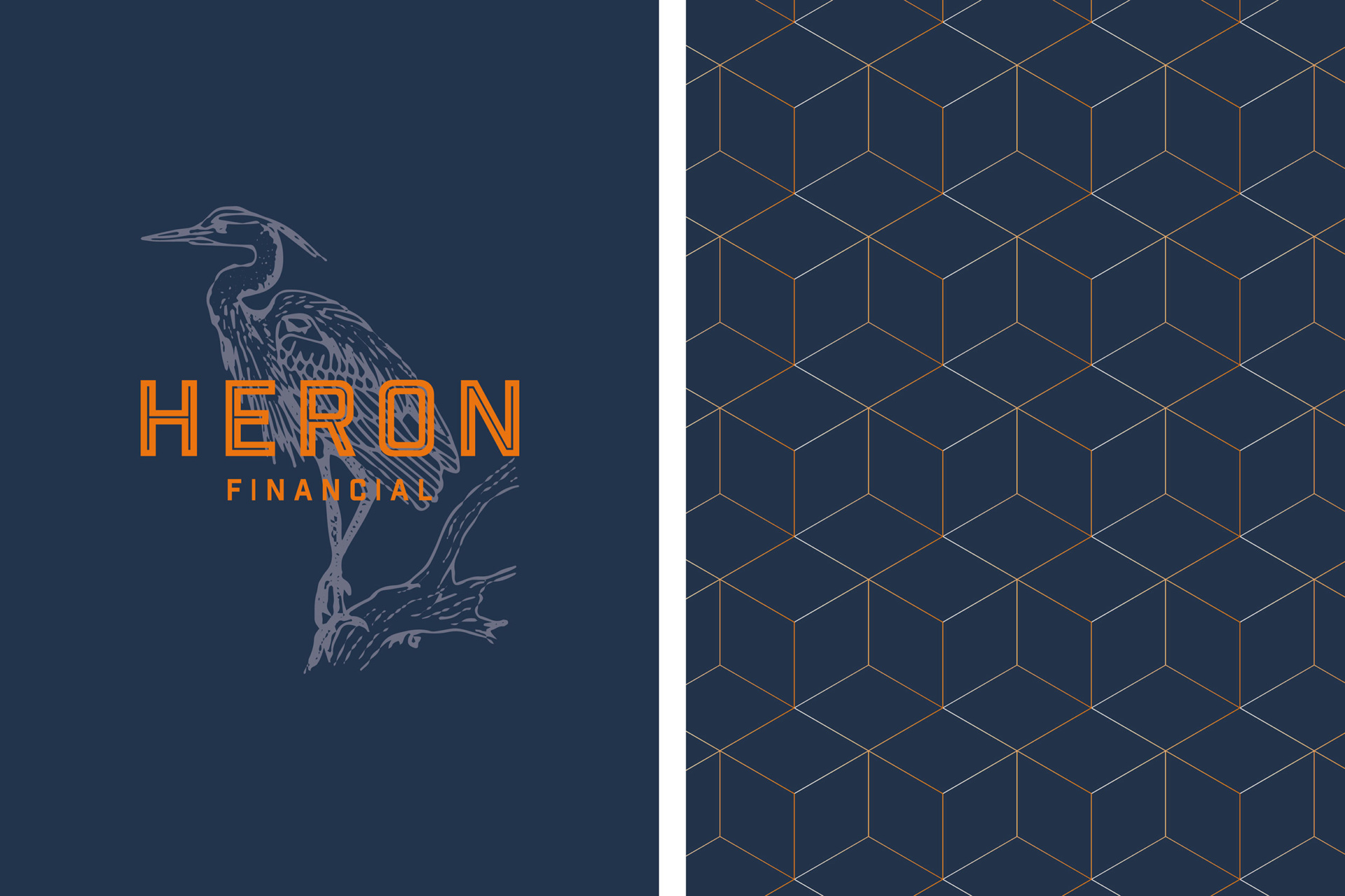 Brand identity for Heron Financial, Mortgage and Insurance Brokers. Featuring a Heron, and an orange pattern. Graphic design by Barefaced Studios, design agency based in Islington, North London.