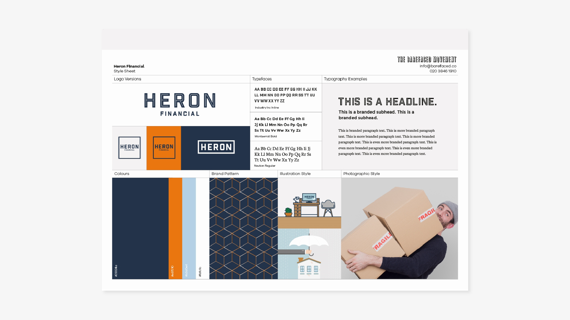 Brand Identity for Heron Financial, mortgage and insurance brokers. Graphic design by Barefaced Studios, design agency based in Islington, North London.