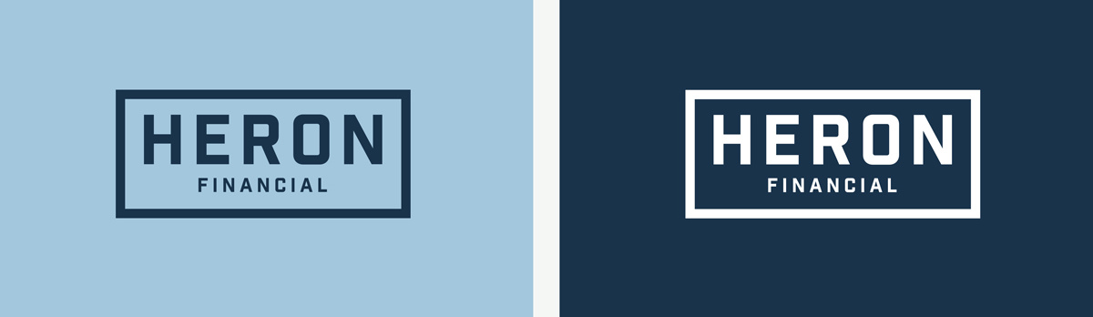 Two blue logos for Heron Financial, Mortgage and Insurance Brokers. Graphic design by Barefaced Studios, design agency based in Islington, North London.