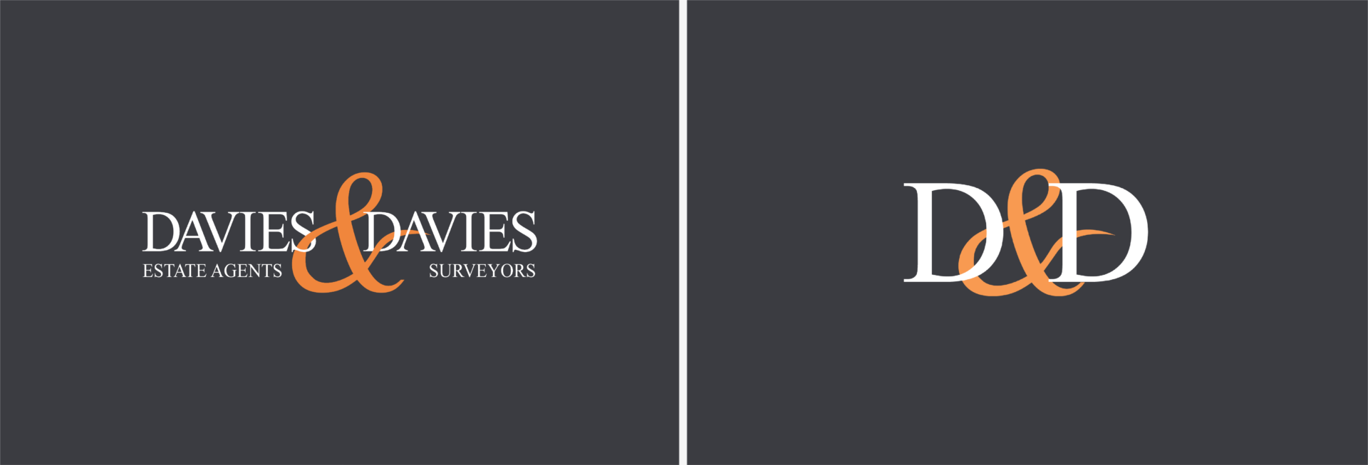 Two logos for North London, Estate Agents, Davies & Davies. Graphic design by Barefaced Studios, design agency based in Islington, North London.