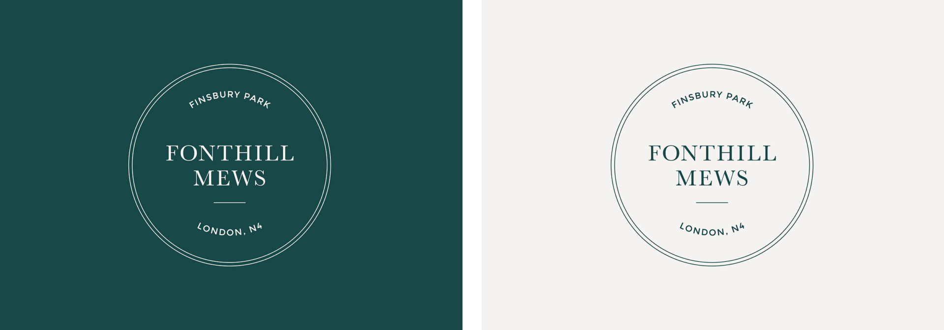 Two logo designs for Fonthill Mews, Finsbury Park properties. Graphic design by Barefaced Studios, design agency based in Islington, North London.