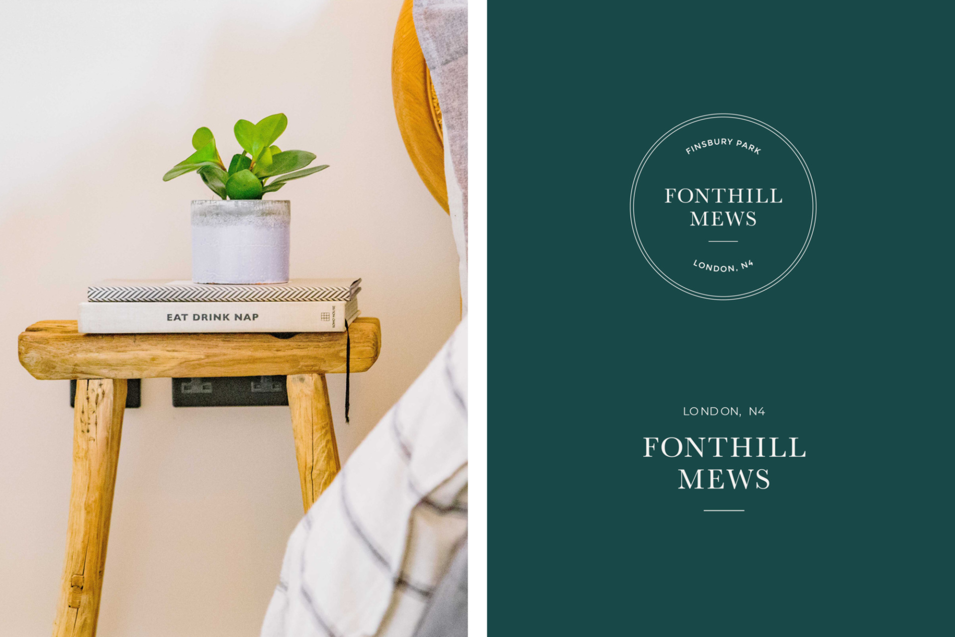 Two logo design for Fonthill Mews, Finsbury Park properties- left side image of modern, wooden bedside table. Graphic design by Barefaced Studios, design agency based in Islington, North London.