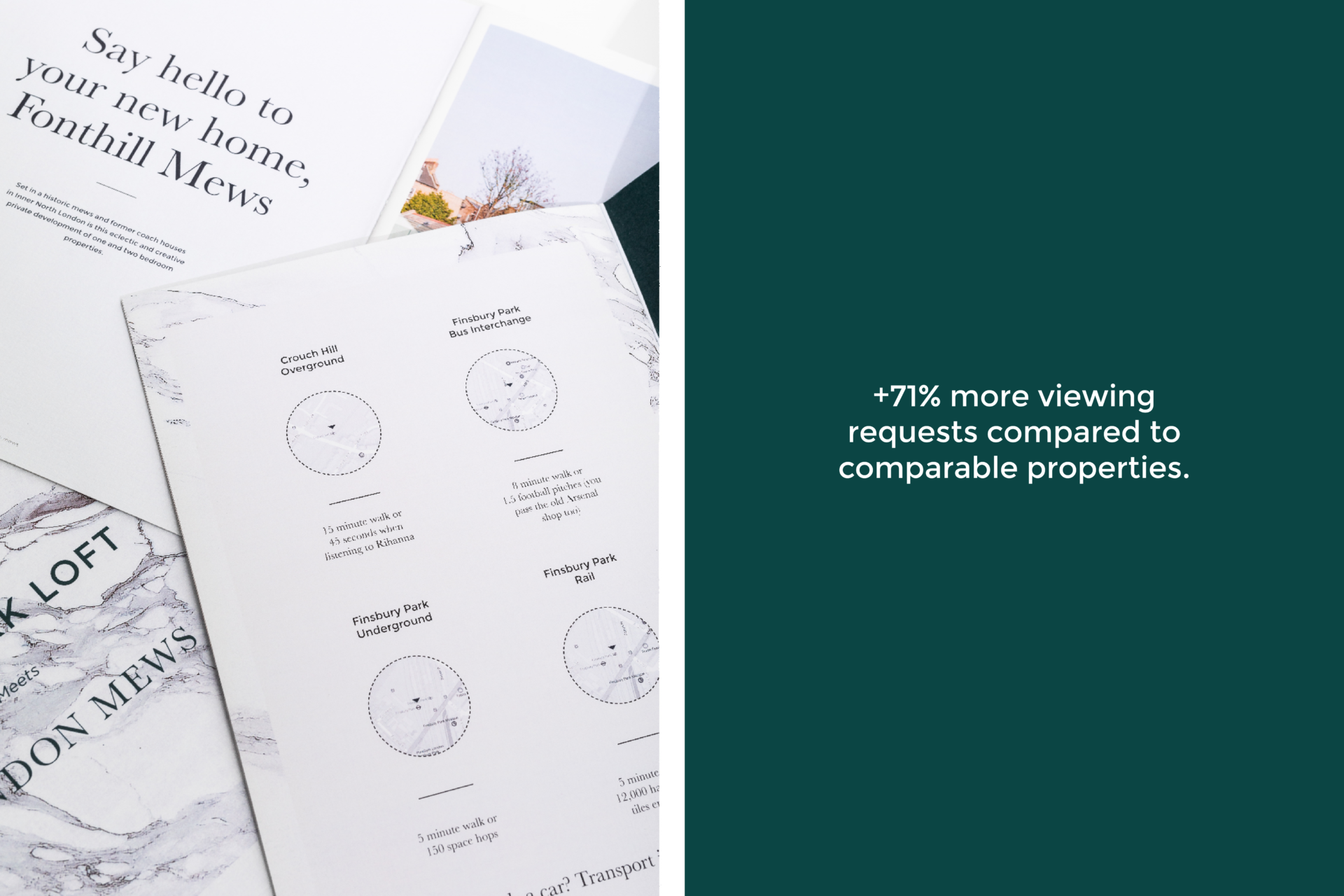 Interior brochures for Fonthill Mews, Finsbury Park properties. Graphic design by Barefaced Studios, design agency based in Islington, North London.