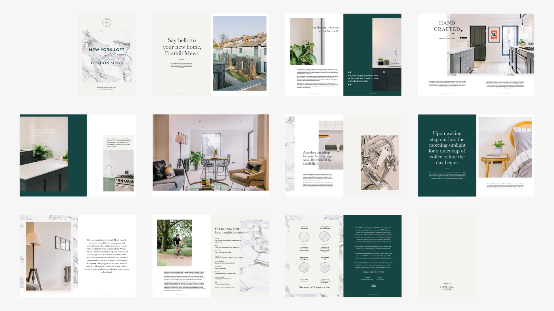 Interior spread for brochure, Fonthill Mews, Finsbury Park properties. Graphic design by Barefaced Studios, design agency based in Islington, North London.