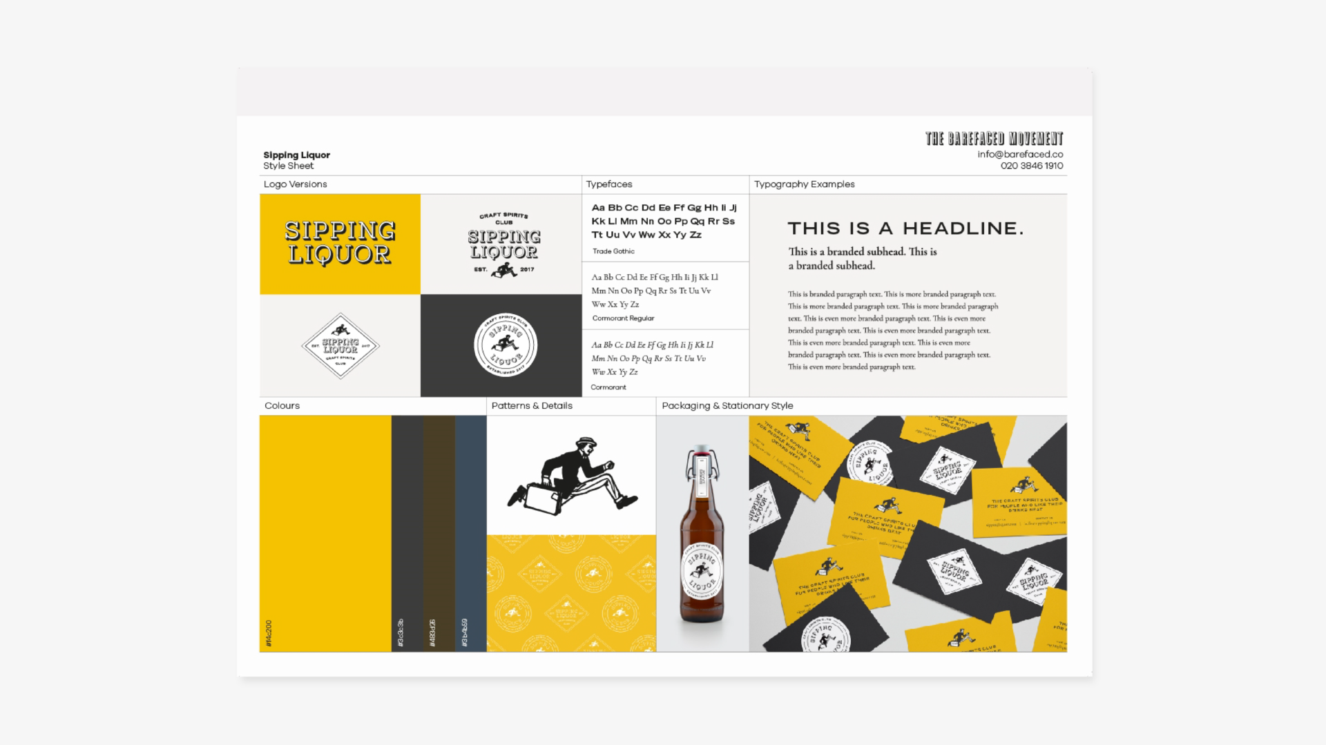 Stylesheet produced for Sipping Liquor- colours primarily yellow and black. Graphic design by Barefaced Studios, design agency based in Islington, North London.