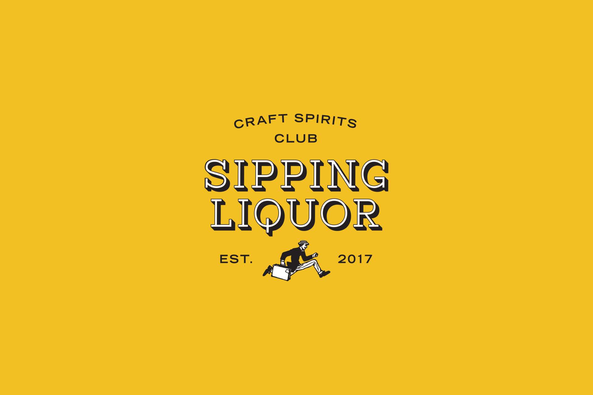 Yellow background, with Sipping Liquor logo on top- featuring graphic of black and white man running. Graphic design by Barefaced Studios, design agency based in Islington, North London.