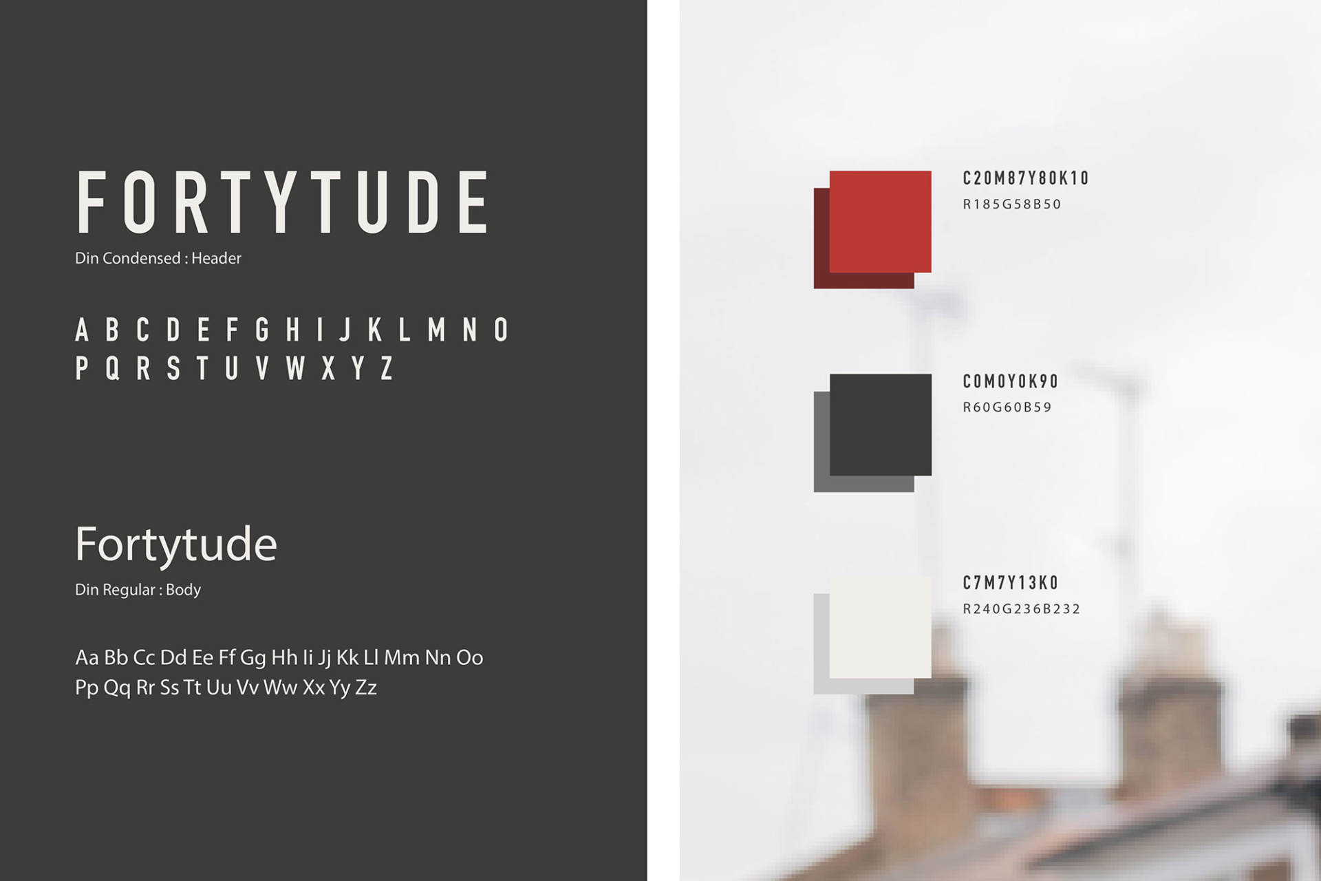 Fortytude brand identity- typeface and colours. Graphic design produced by Barefaced Studios, design agency based in Islington, North London.