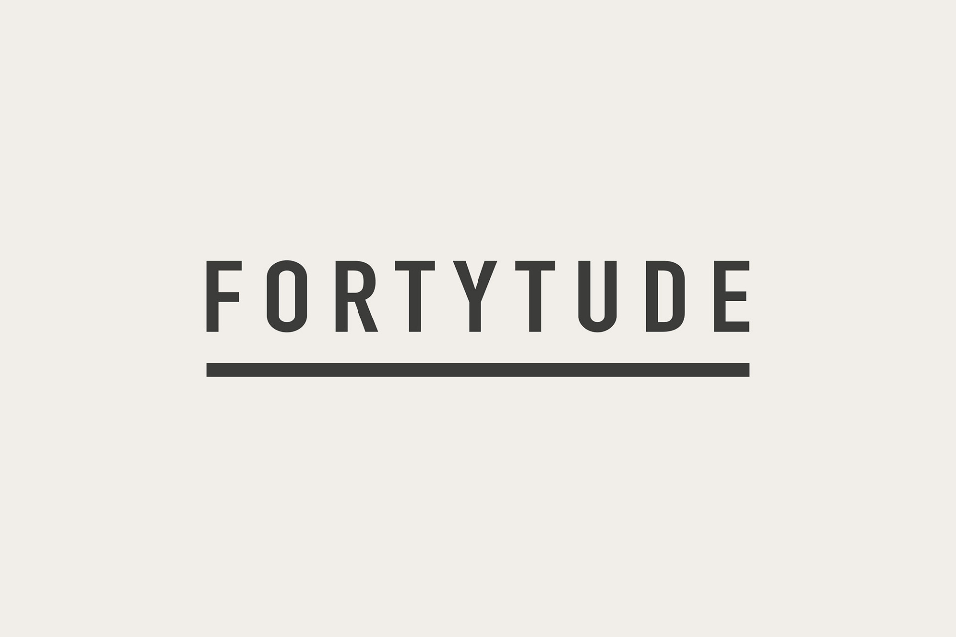 Fortytude logo. Clean and simple all cap text, underlined. Graphic design produced by Barefaced Studios, design agency based in Islington, North London.