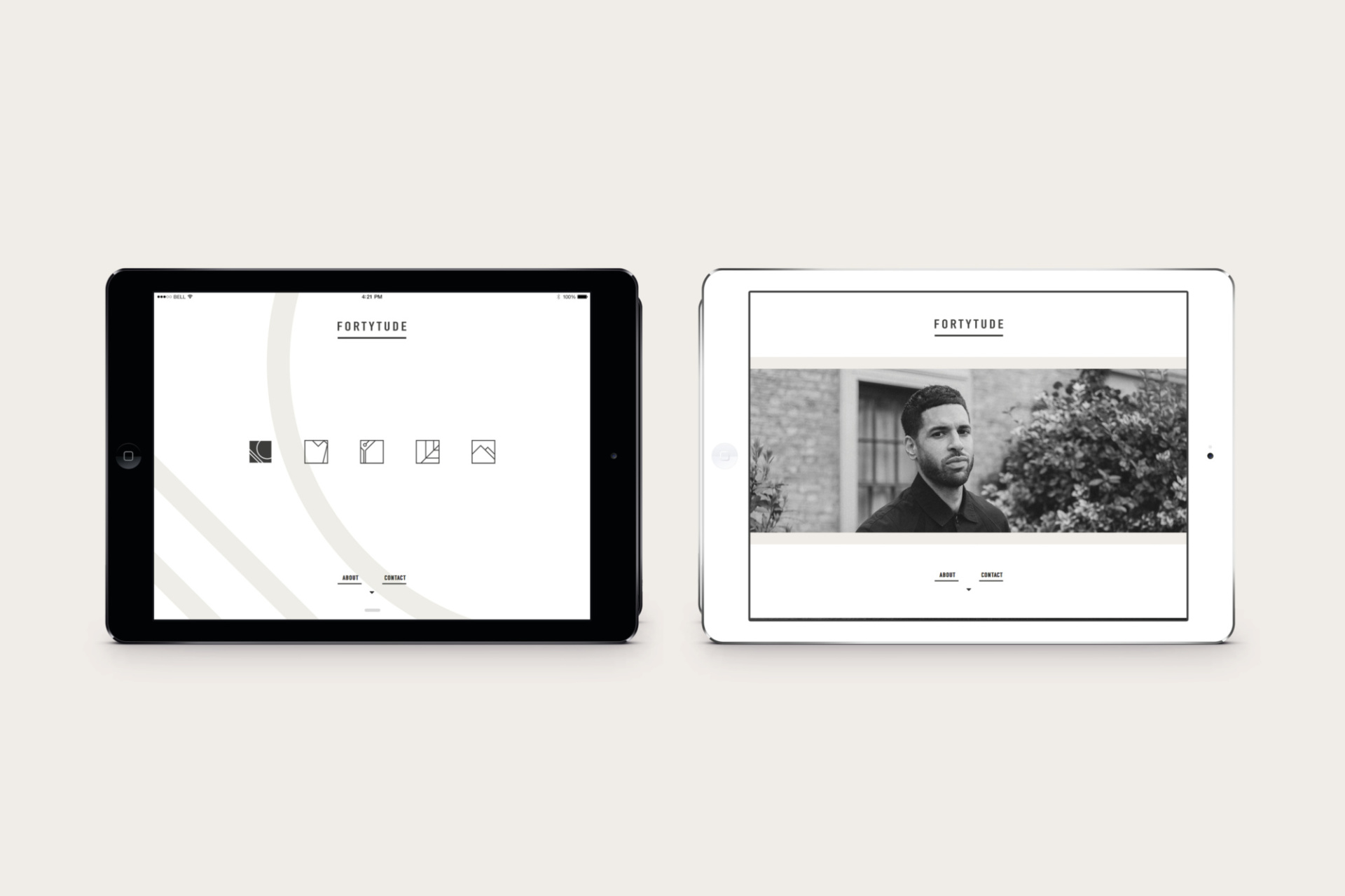 Fortytude website displayed on an iPad. Monochrome design, with simple line graphics. Graphic design produced by Barefaced Studios, design agency based in Islington, North London.