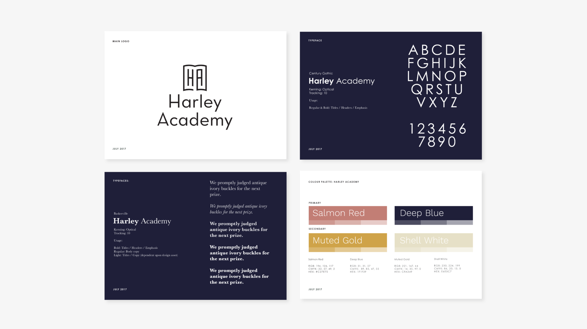 Mock up of logo, typeface, brand identity colours for Harley Academy. Graphic design by Barefaced Studios, Design Agency in Islington.