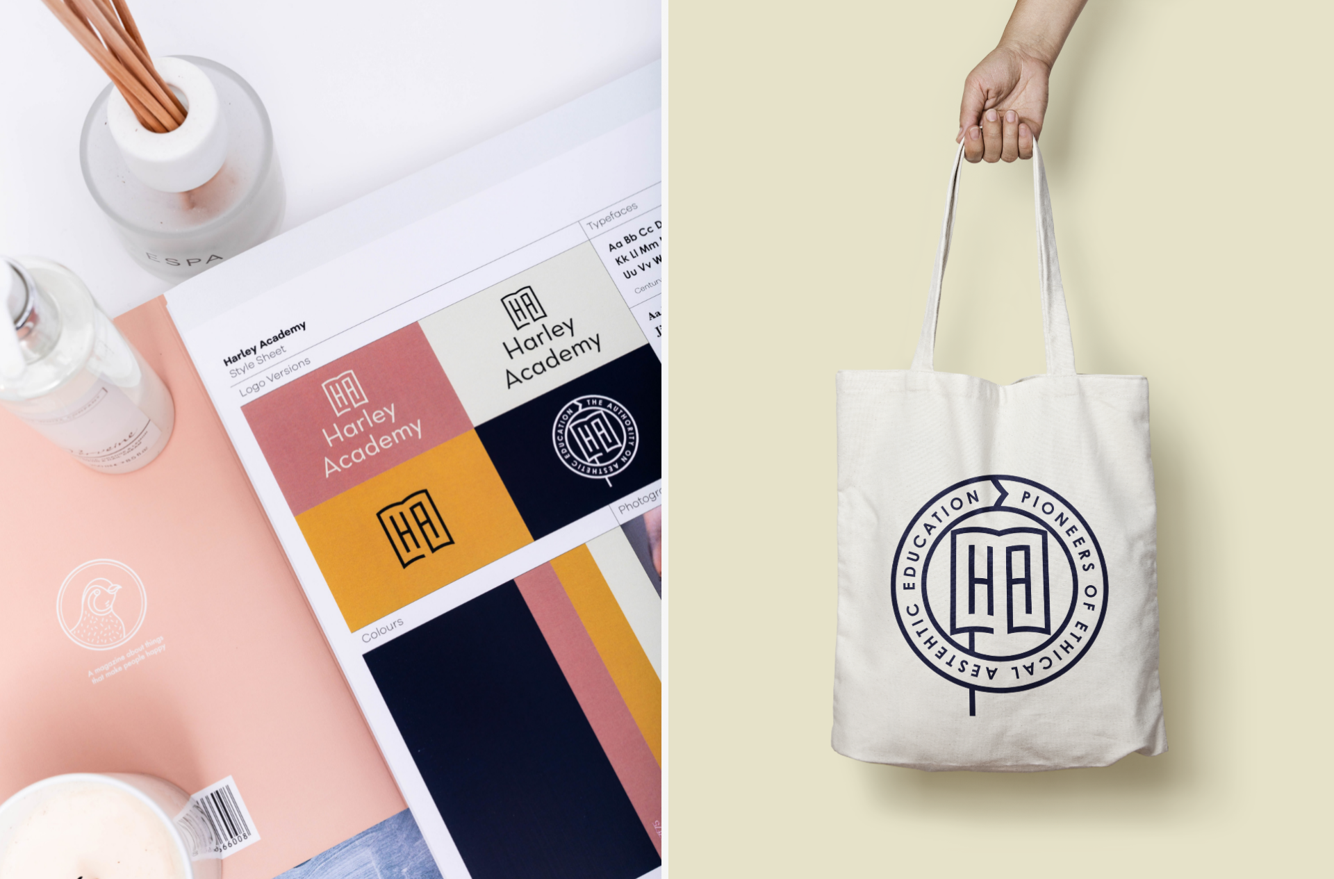 Split image of two mock ups of Harley Academy logo. One in various colours, the second featured on a tote bag. Graphic design by Barefaced Studios, Design Agency in Islington.