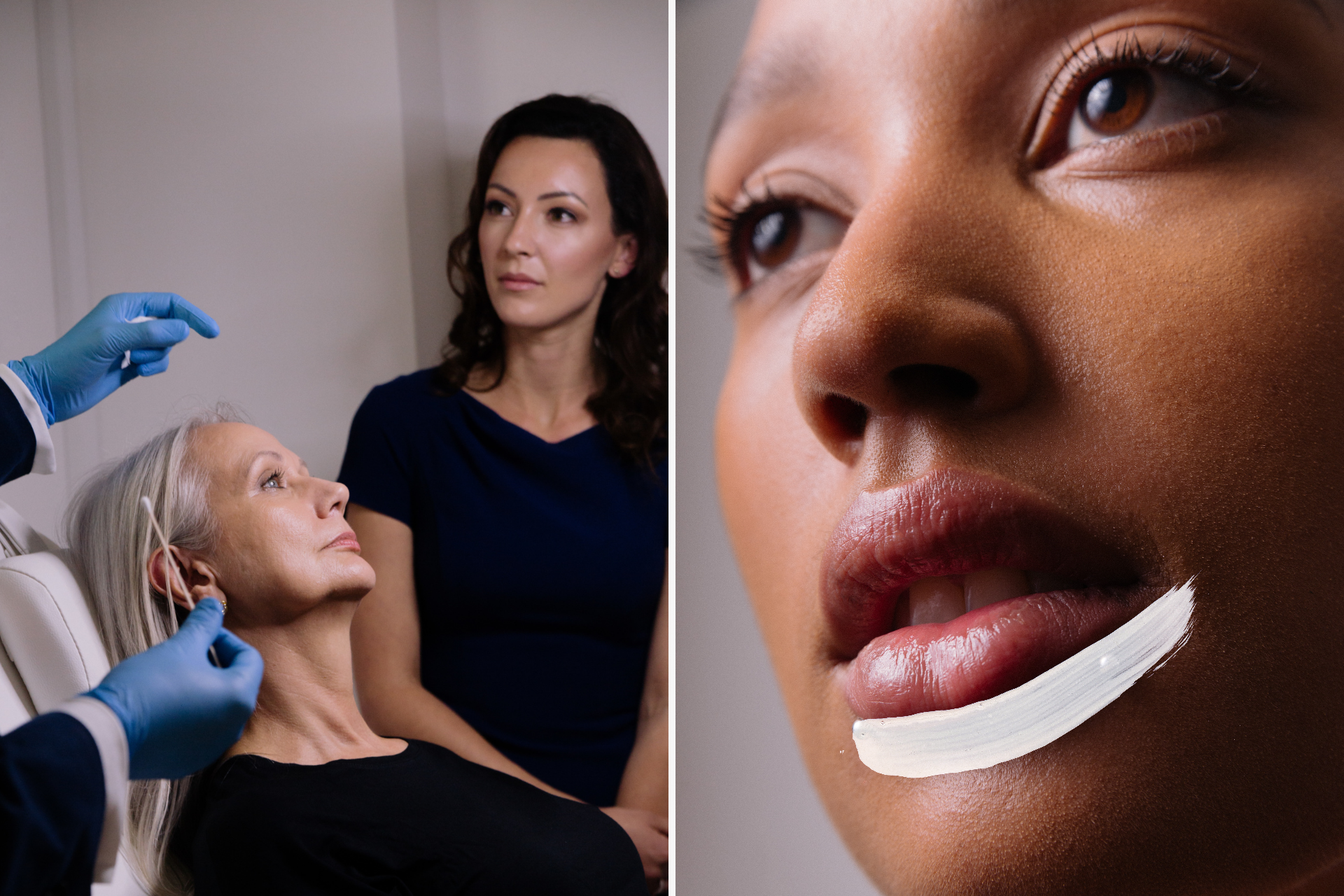 A split image. Left side showing woman in chair, cosmetic consolation. Right side shows woman's face close up with brush stroke lining lips. Graphic Design by Barefaced Studios, design agency Islington, for Harley Academy.