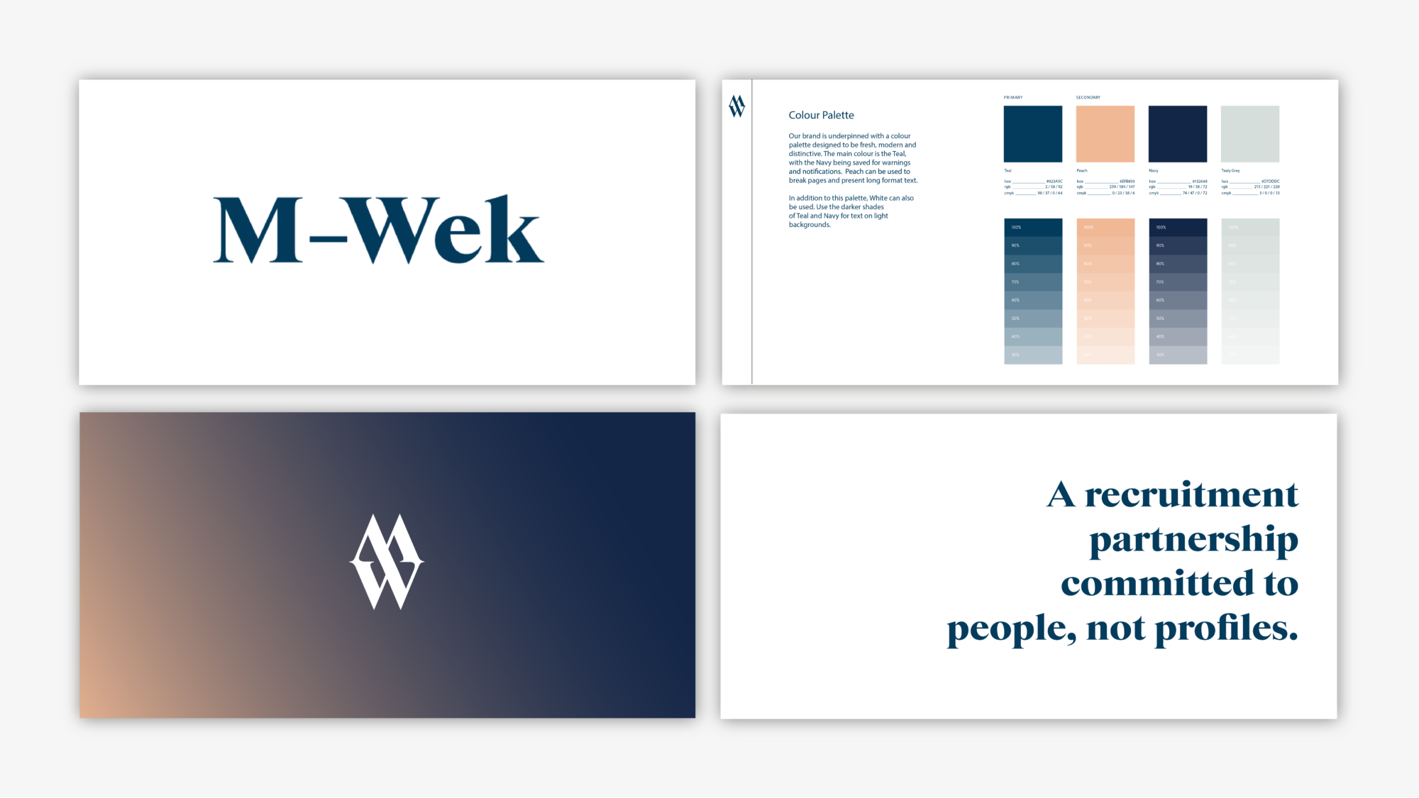 "M-Wek branding with logo variations, the colour palette and a logo that reads ""a recruitment partnership committed to people, not profiles"""