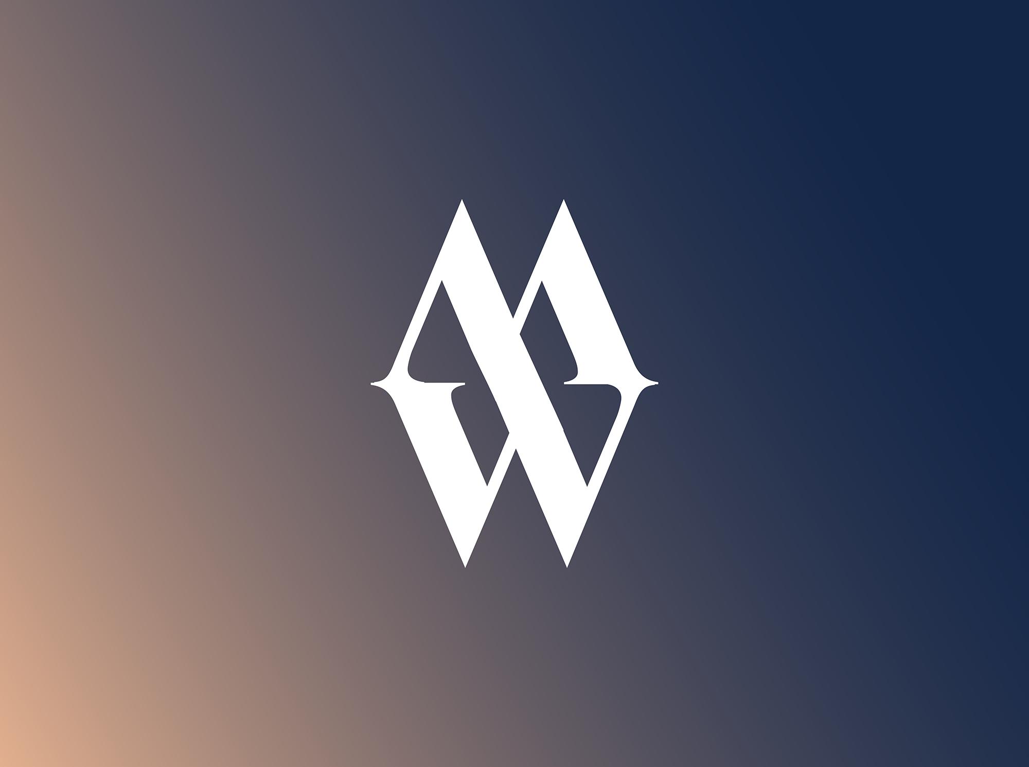 MWEK Logo variation on a pink blending with navy gradient background