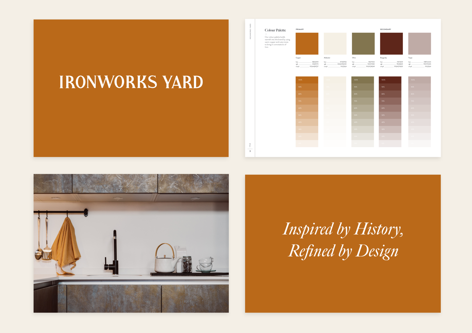 Brand guidelines for the Ironworks Yard development including logo, colour palette, slogan and imagery.