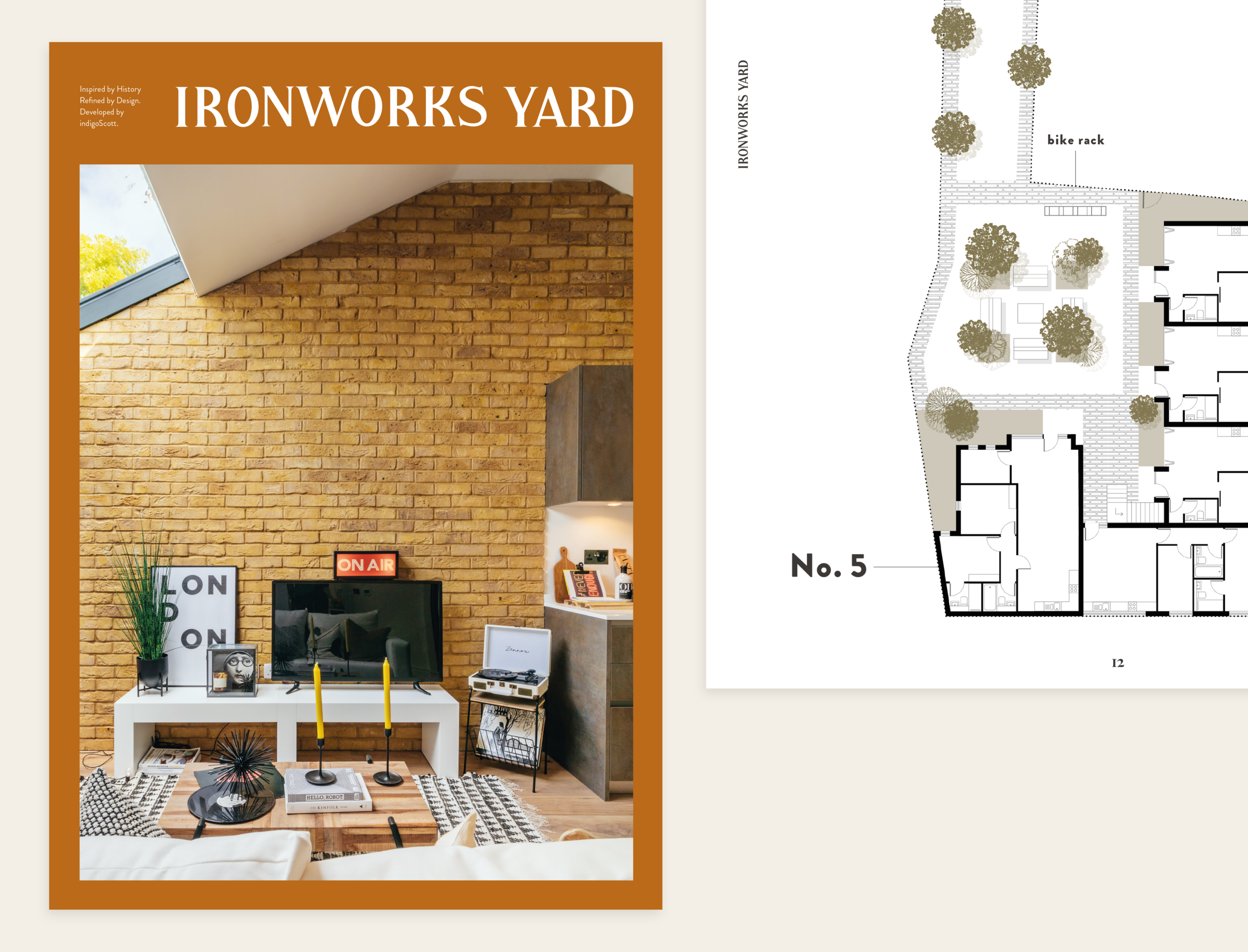 Brochure layout spread for the Ironworks Yard development featuring the front cover and part of the site map.
