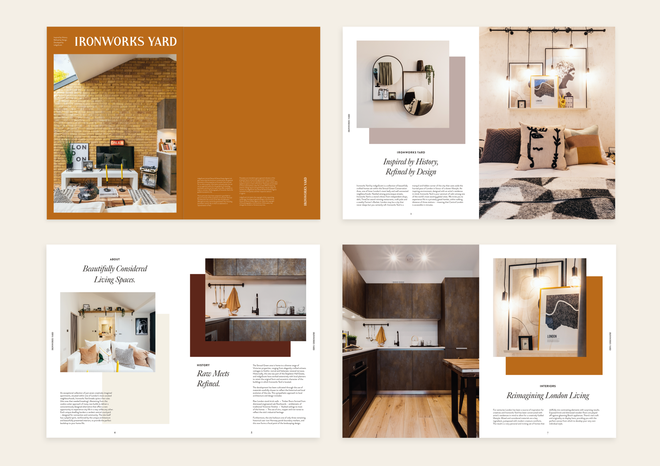 Brochure layout spread for the Ironworks Yard development.